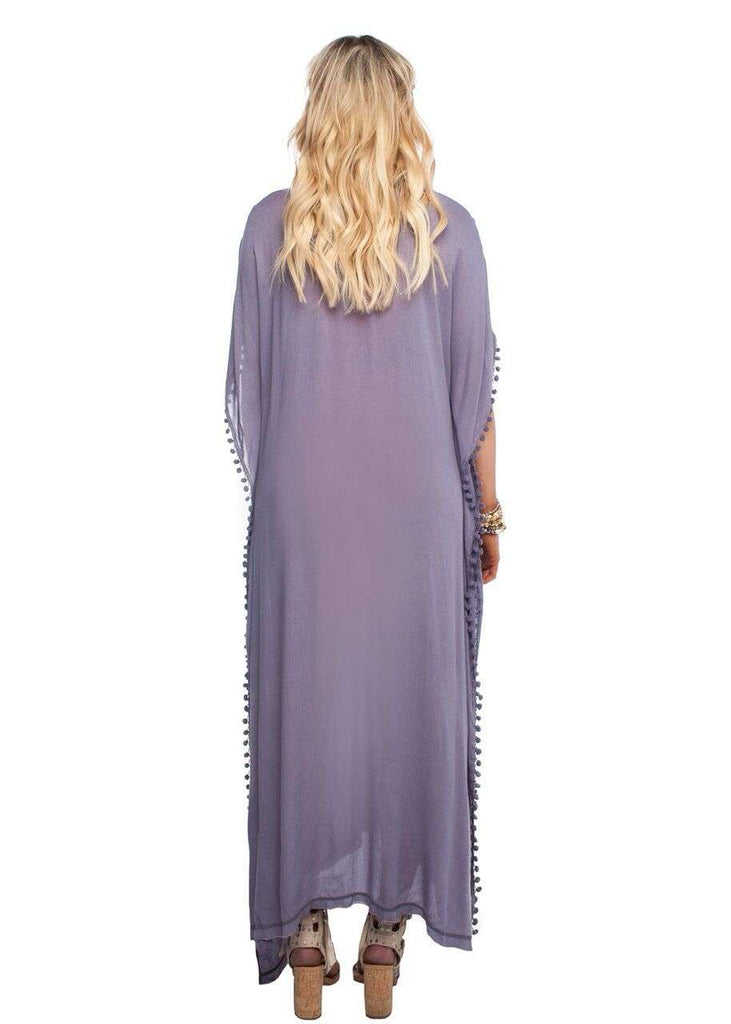 BuddyLove Zora Pom Pom Maxi Dress With Tassels - Grey
