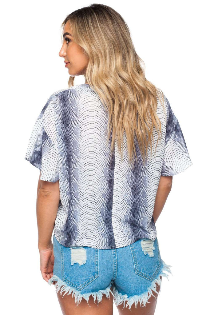 BuddyLove Rah Rah Fluttered Short Sleeves Tie Front Top - Viper - Buddy Love Clothing Label