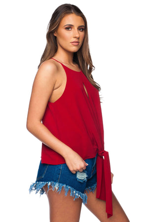 BuddyLove Candice Tie Front Tank Top - Maroon - Buddy Love Clothing Label