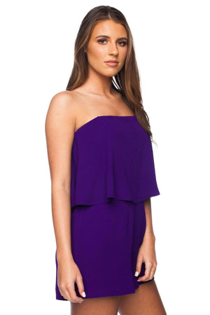 BuddyLove Andrews Off the Shoulder Romper - Purple - Buddy Love Clothing Label
