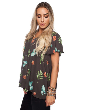 BuddyLove Avril Flutter Sleeved Top - Desert - FINAL SALE - Buddy Love Clothing Label