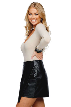 BuddyLove Madonna Enveloped Vegan Leathered Skirt - Black - Buddy Love Clothing Label