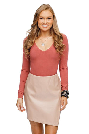 BuddyLove Madonna Enveloped Vegan Leathered Skirt - Tan - Buddy Love Clothing Label