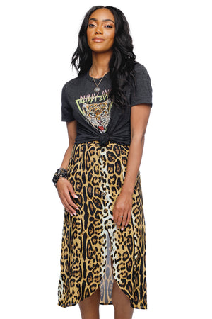 BuddyLove Maren Long Button Up Slit Skirt - Serengeti