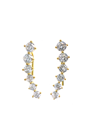 BuddyLove Marlina Diamond Ear Climbers - Gold