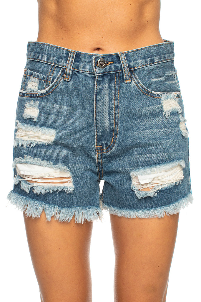 BuddyLove Meg Distressed Denim Shorts - Medium Wash,24 / Blue / Solids