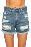 BuddyLove Meg Distressed Denim Shorts - Medium Wash