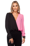 BuddyLove Melissa Surplice Neck Long Sleeve Bodysuit - Black Pink
