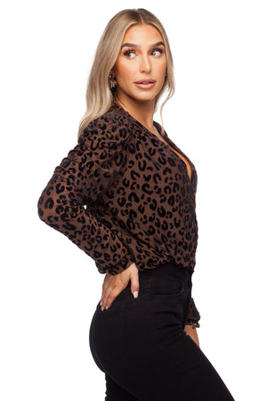 BuddyLove Melissa Surplice Neck Long Sleeve Bodysuit - Mocha