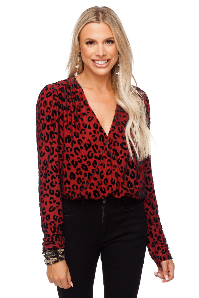 BuddyLove Melissa V Neck Fluffed Long Sleeve Bodysuit - Red Leopard Print