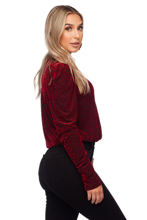 BuddyLove Melissa Surplice Neck Long Sleeve Bodysuit - Vamp - FINAL SALE