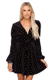 BuddyLove Miley Long Sleeve Velvet Skater Dress - Twilight Black