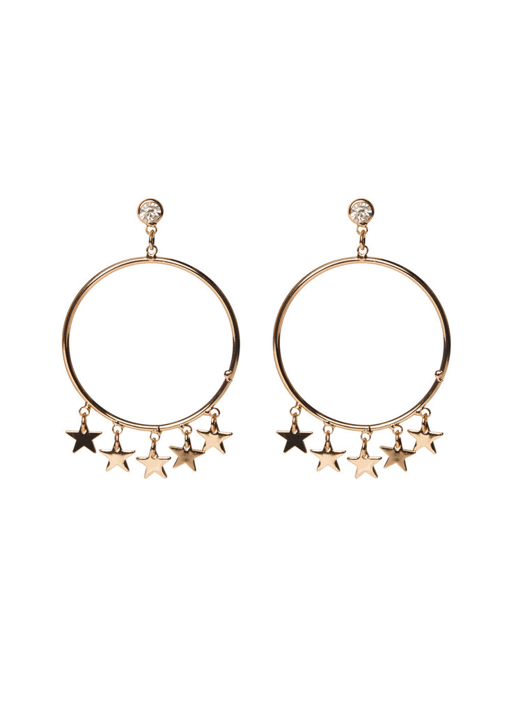 BuddyLove Milky Way Hoop Star Earrings - Gold,Gold
