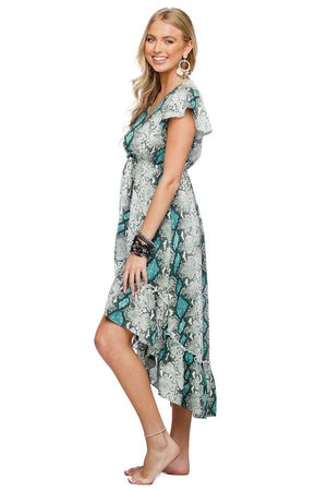 BuddyLove Missy Ruffled High-Low Midi Dress - Emerald - Buddy Love Clothing Label