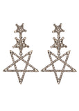 BuddyLove Monica Drop Star Earrings - Silver