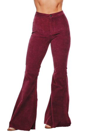 BuddyLove Moonshine High-Waisted Flared Corduroy Jeans - Wine - Buddy Love Clothing Label
