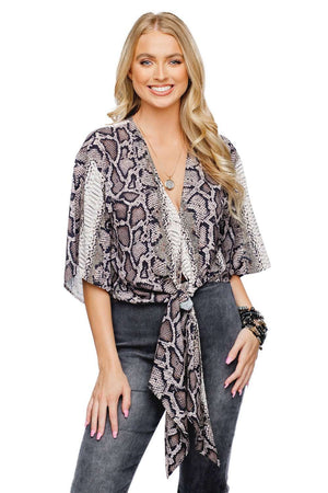 BuddyLove Muse Quarter Length Sleeve Tie Front Top - Kenya - Buddy Love Clothing Label