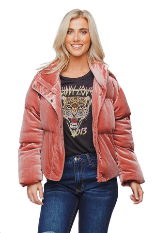 BuddyLove Nicks Puffy Zipper Closure Lined Jacket - Rose Pink