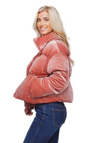 BuddyLove Nicks Puffy Zipper Closure Lined Jacket - Rose