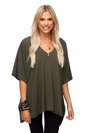 BuddyLove North Tunic Flowy Women's Top - Olive Green