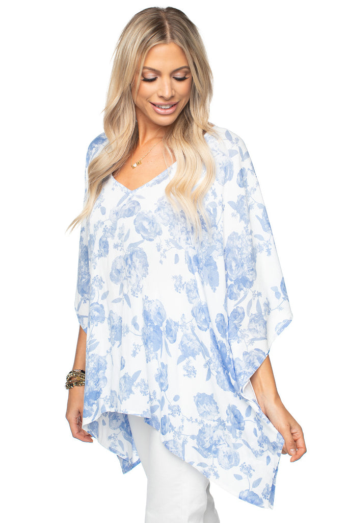 BuddyLove Blue White Floral Print Top