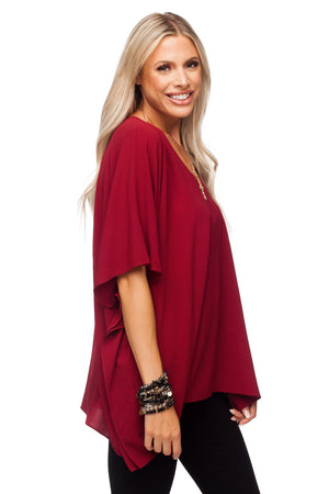 BuddyLove North Tunic Flowy Top - Wine