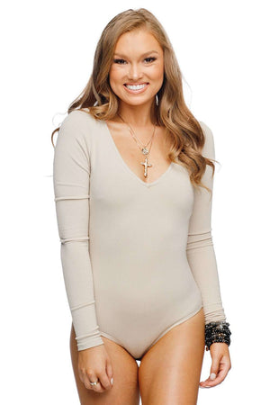 BuddyLove Patti V-neck Long Sleeved Bodysuit - Taupe - Buddy Love Clothing Label