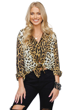 BuddyLove Portia Loose Fit Button Up Collared Women's Top - Animal
