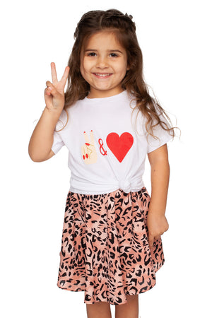 BuddyLove Kids Raven Cotton Graphic Tee - Peace and Love,12M / White