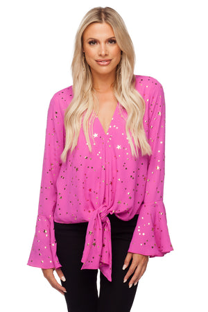 BuddyLove Samantha Long Bell Sleeve Tie Front Top - Pink