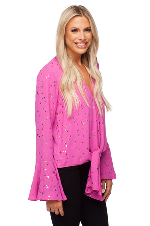 BuddyLove Samantha Long Bell Sleeve Tie Front Top - Constellation