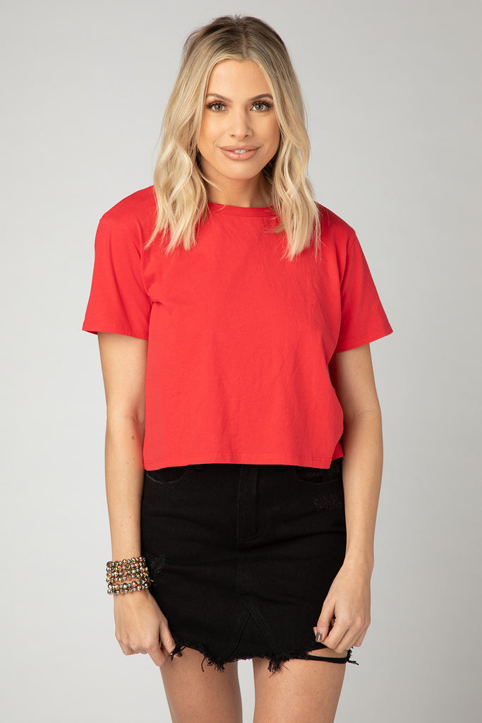 BuddyLove Sarah Cropped Tee - Red,S / Red / Solids