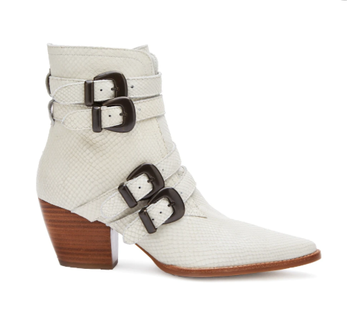 Harvey Leather Booties - White,6 / White