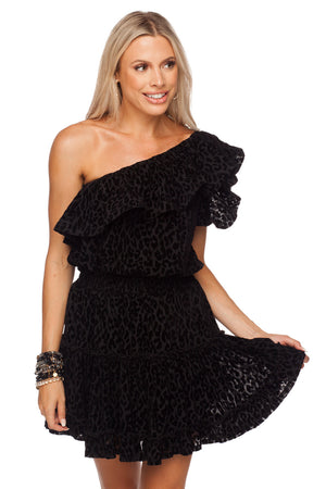 BuddyLove Sofia One Shoulder Ruffled Cocktail Dress - Black