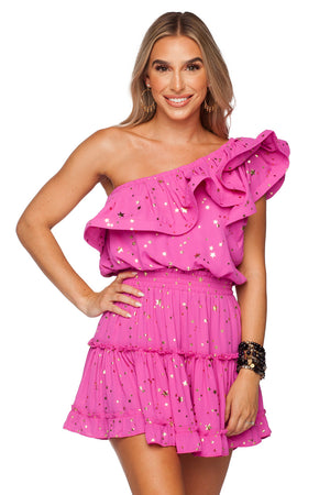 BuddyLove Sofia One Shoulder Ruffled Cocktail Dress - Pink