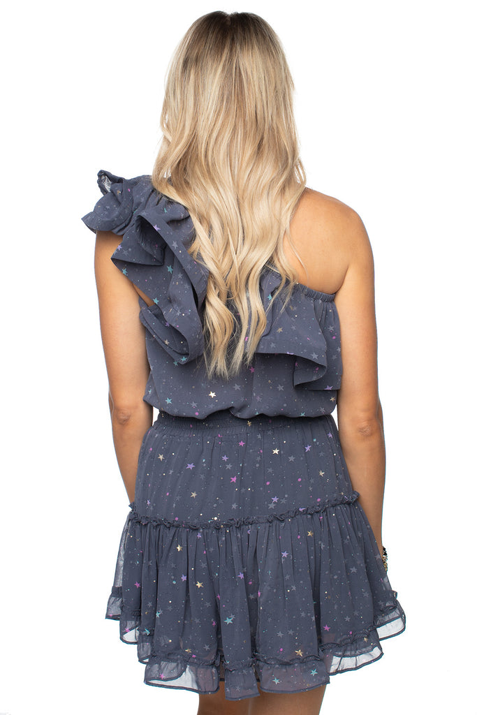 BuddyLove Sofia One Shoulder Ruffled Cocktail Dress - Glitter Galaxy
