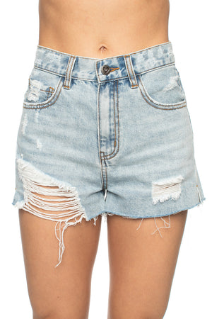 Distressed High Waisted Denim Shorts