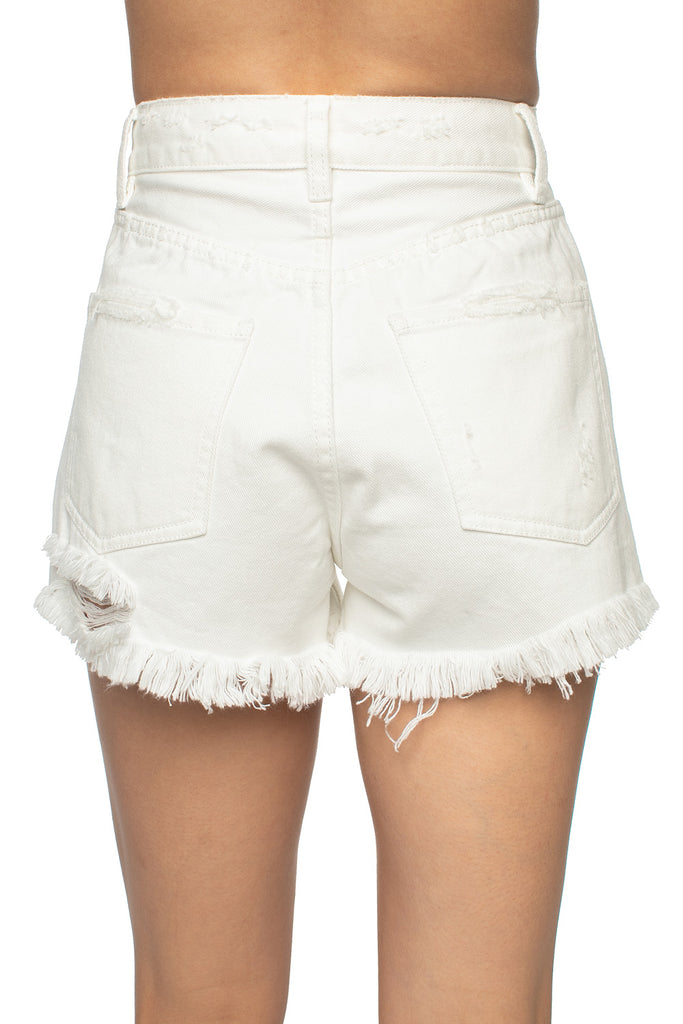 BuddyLove Stone Distressed High-Waisted Denim Shorts - White