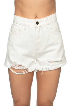 BuddyLove Stone Distressed High-Waisted Denim Shorts - White,24 / White / Solids