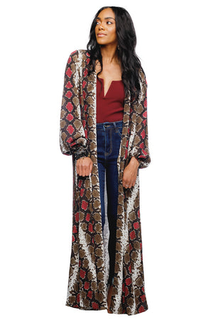BuddyLove Stoney Long Sleeved Maxi Duster - Merlot