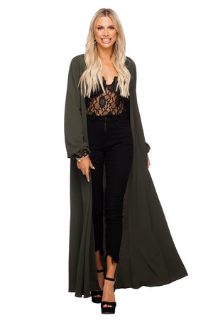 BuddyLove Stoney Long Sleeved Maxi Duster - Olive