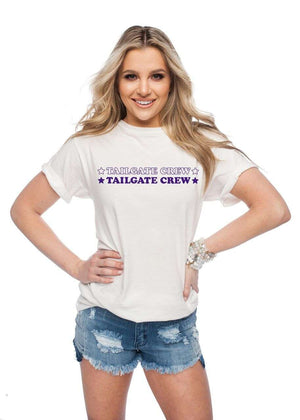 BuddyLove Van Solid White Cotton Graphic Tee - Tailgate Crew Purple