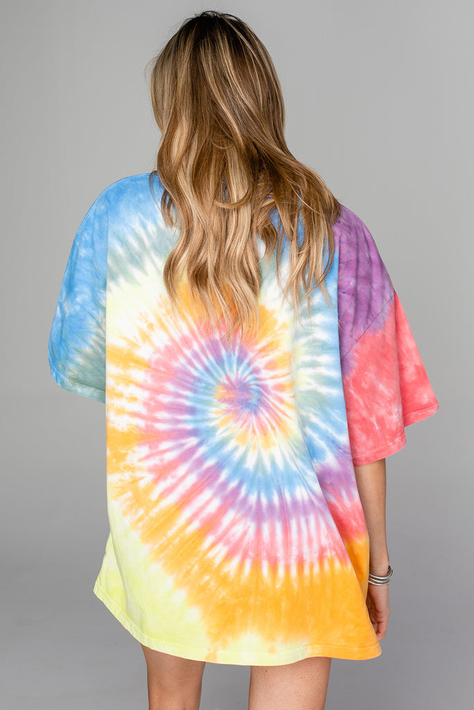 BuddyLove Trippy Tie-Dye Oversized Graphic Tee - Good Vibes