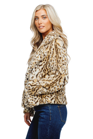 BuddyLove Teddy Lapeled Zipper Closure Faux Fur Jacket - Bengal