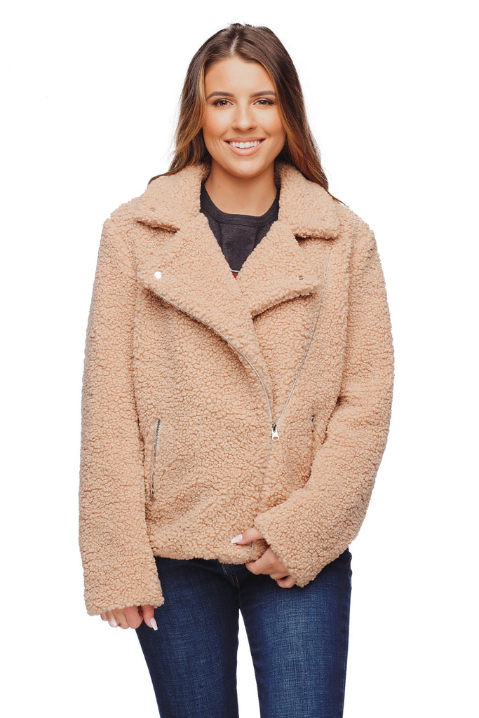 BuddyLove Teddy Lapeled Zipper Closure Faux Fur Jacket - Taupe,S / Brown / Solids