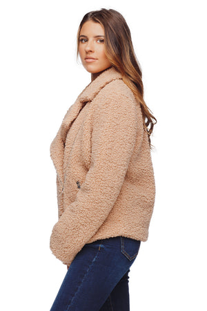 BuddyLove Teddy Lapeled Zipper Closure Faux Fur Jacket - Taupe
