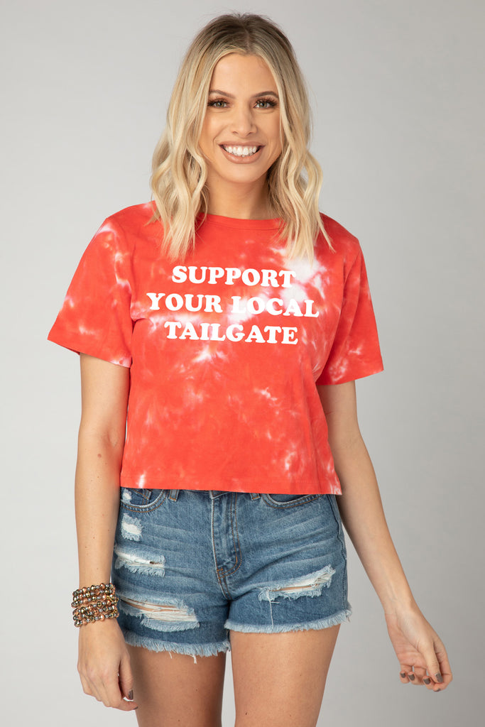 BuddyLove Watson Tie-Dye Cropped Tee - Support Your Local Tailgate,S / Red / Tie Dye