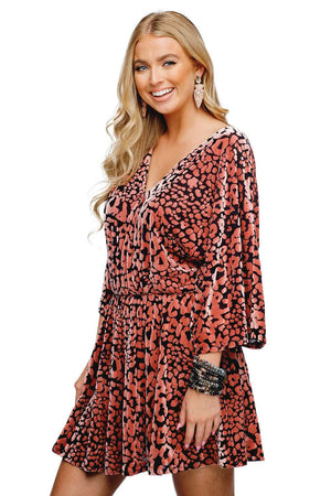 BuddyLove Whitney Long Sleeved Velvet Burnout Mini Dress - Feline