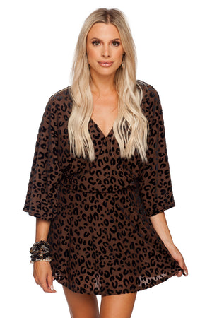 BuddyLove Whitney Long Sleeve Velvet Burnout Mini Dress - Mocha Brown