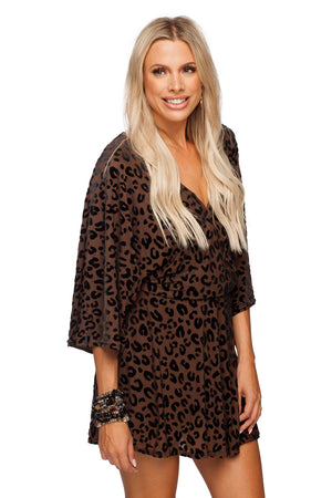 BuddyLove Whitney Long Sleeved Velvet Burnout Mini Dress - Mocha